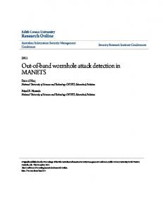 Out-of-band wormhole attack detection in MANETS - Research Online