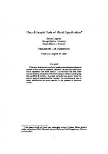 Out-of-Sample Tests of Model Specification