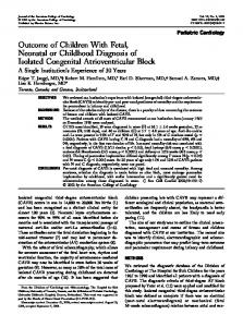 Outcome of Children With Fetal, Neonatal or Childhood Diagnosis of ...