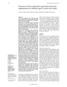 Outcome of lens aspiration and intraocular lens ... - Europe PMC