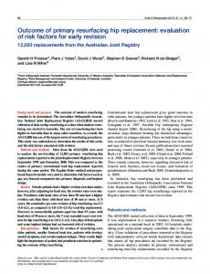 Outcome of primary resurfacing hip replacement - BioMedSearch