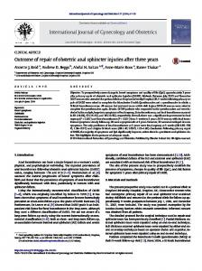 Outcome of repair of obstetric anal sphincter injuries ...