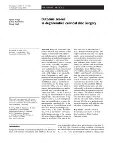 Outcome scores in degenerative cervical disc surgery - Europe PMC