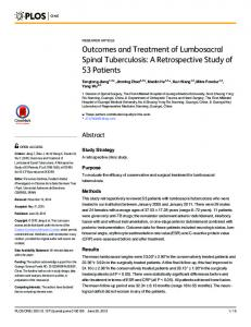 Outcomes and Treatment of Lumbosacral Spinal Tuberculosis - PLOS