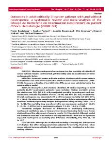 Outcomes in adult critically Ill cancer patients with