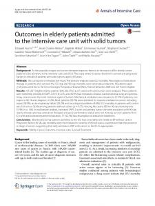 Outcomes in elderly patients admitted to the