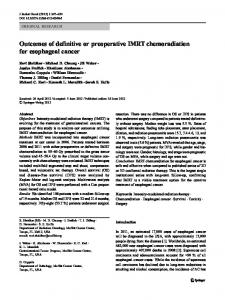 Outcomes of definitive or preoperative IMRT chemoradiation for ...