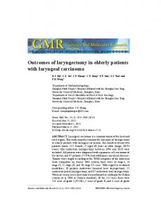 Outcomes of laryngectomy in elderly patients with laryngeal carcinoma