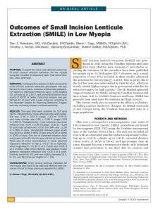 Outcomes of Small Incision Lenticule Extraction (SMILE)