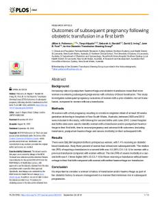 Outcomes of subsequent pregnancy following obstetric ... - Plos