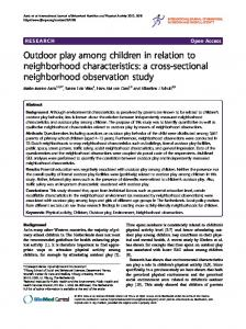 Outdoor play among children in relation to