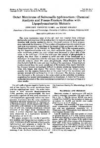 Outer Membrane of Salmonella typhimurium - Journal of Bacteriology