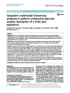 Outpatient multimodal intravenous analgesia in ... - Semantic Scholar