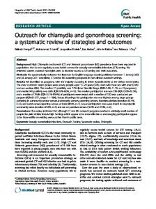 Outreach for chlamydia and gonorrhoea ... - BMC Public Health