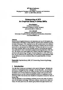 Outsourcing of ICT: An Empirical Study in Swiss ... - Semantic Scholar