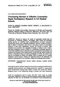 Overcoming Barriers to Effective Community- Based Participatory ...