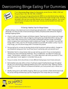 Overcoming Binge Eating For Dummies Cheat Sheet