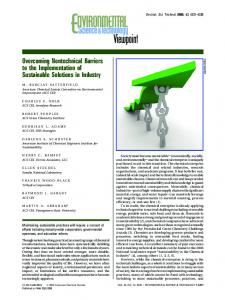 Overcoming Nontechnical Barriers to the ... - ACS Publications