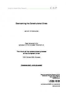 Overcoming the Constitutional Crisis