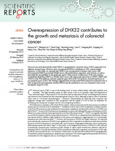 Overexpression of DHX32 contributes to the ... - Semantic Scholar