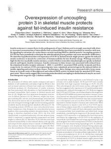 Overexpression of uncoupling protein 3 in skeletal muscle protects