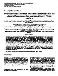 Overexpression, purification and characterization ... - Academic Journals
