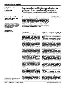 Overexpression, purification, crystallization and ... - IUCr Journals