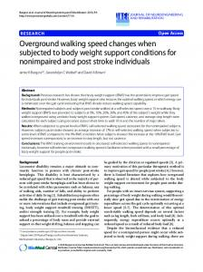 Overground walking speed changes when subjected ... - BioMedSearch