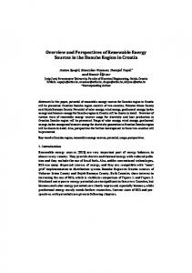 Overview and Perspectives of Renewable Energy Sources in the ...