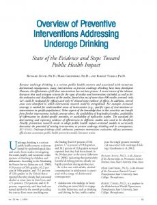 Overview of Preventive Interventions Addressing Underage Drinking