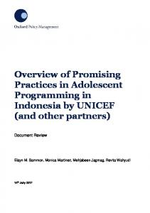 Overview of Promising Practices in Adolescent Programming ... - Unicef