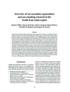 Overview of sea cucumber aquaculture and sea-ranching research in ...