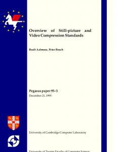 Overview of Still-picture and Video Compression ... - Semantic Scholar