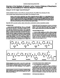Overview of the Synthesis of Optically Active 3-Amino