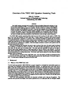 Overview of the TREC 2001 Question Answering Track Ellen M ...