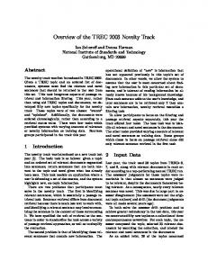 Overview of the TREC 2003 Novelty Track - Text REtrieval Conference
