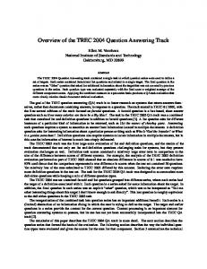 Overview of the TREC 2004 Question Answering Track