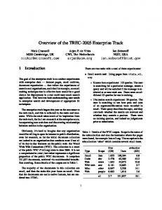 Overview of the TREC-2005 Enterprise Track - Text REtrieval ...