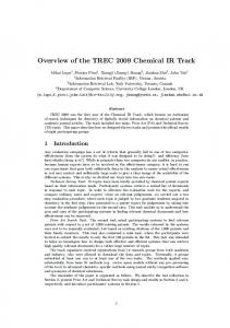 Overview of the TREC 2009 Chemical IR Track - Defense Technical ...