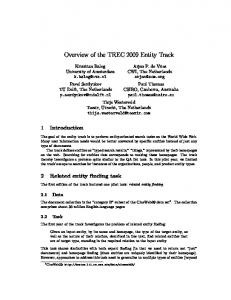 Overview of the TREC 2009 Entity Track - Text REtrieval Conference