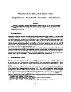 Overview of the TREC 2010 Session Track - Text REtrieval Conference