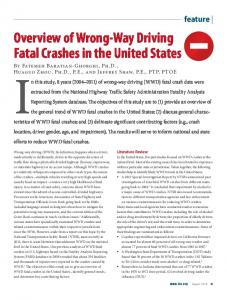 Overview of Wrong-Way Driving Fatal Crashes in the ...