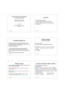 Overview Theoretical background Relative clauses Relative clauses ...