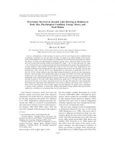 Overwinter Survival of Juvenile Lake Herring in Relation to Body Size ...
