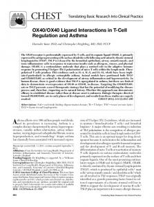 OX40/OX40 Ligand Interactions in T-Cell Regulation and ... - CiteSeerX