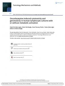 Oxcarbazepine-induced cytotoxicity and genotoxicity ...