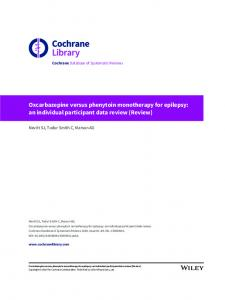 Oxcarbazepine versus phenytoin monotherapy for epilepsy: an