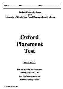 Oxford Placement Test - Mahidol University