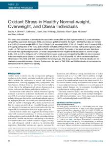 Oxidant Stress in Healthy Normalweight ... - Wiley Online Library