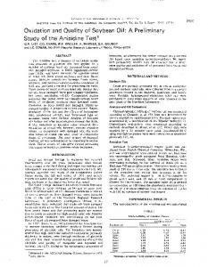 Oxidation and Quality of Soybean Oil: A Preliminary ... - PubAg - USDA